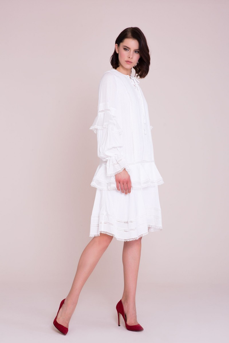 Guipure Detailed White Dress