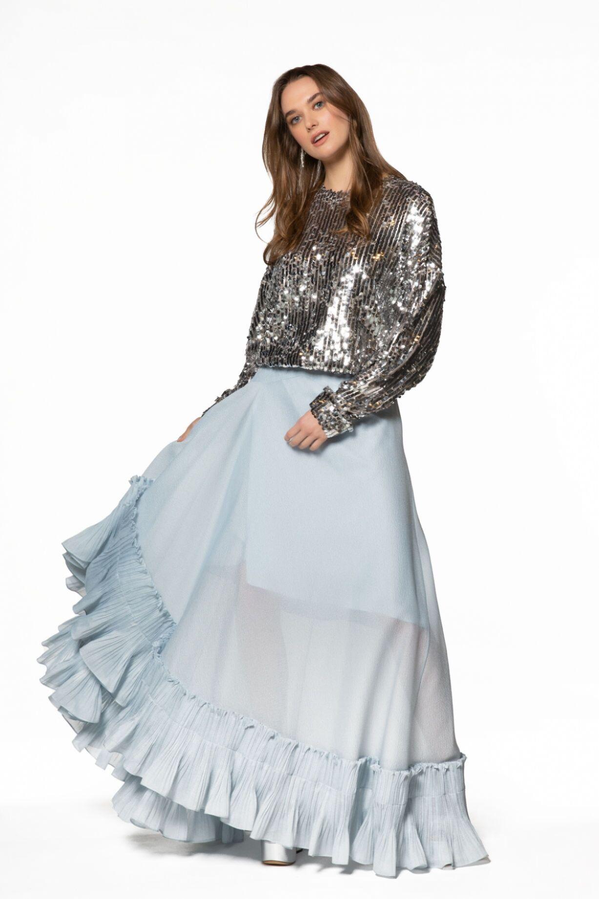 Gümüş Payetli Etek-Bluz Takım