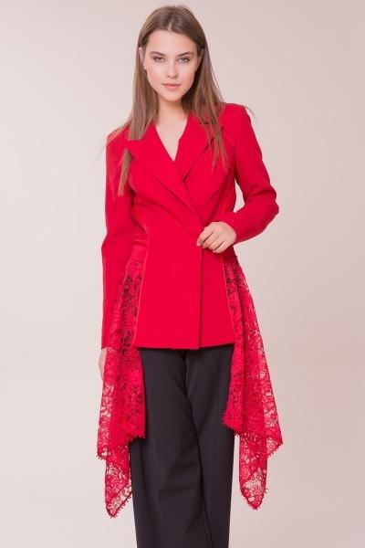 GIZIA - Güpür Detaylı Kırmızı Ceket