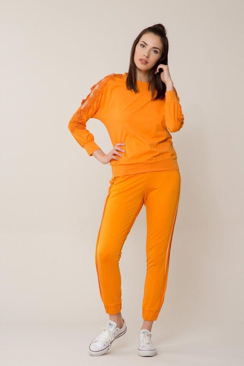 GIZIA CASUAL - Güpür Detaylı Turuncu Spor Bluz