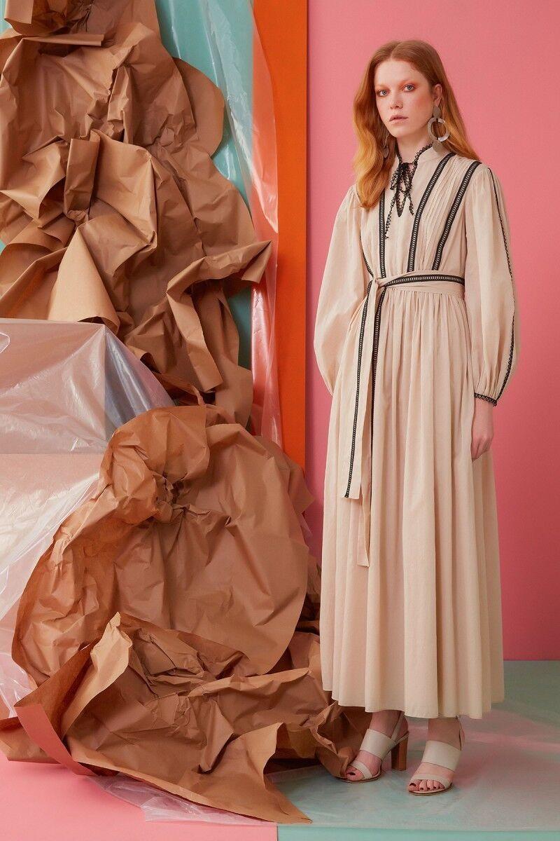 Güpür ve Kuşak Detaylı Camel Elbise
