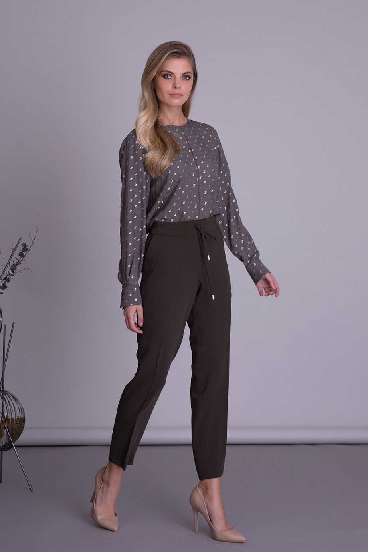 Haki Renk Havuç Kesim Kumaş Pantolon