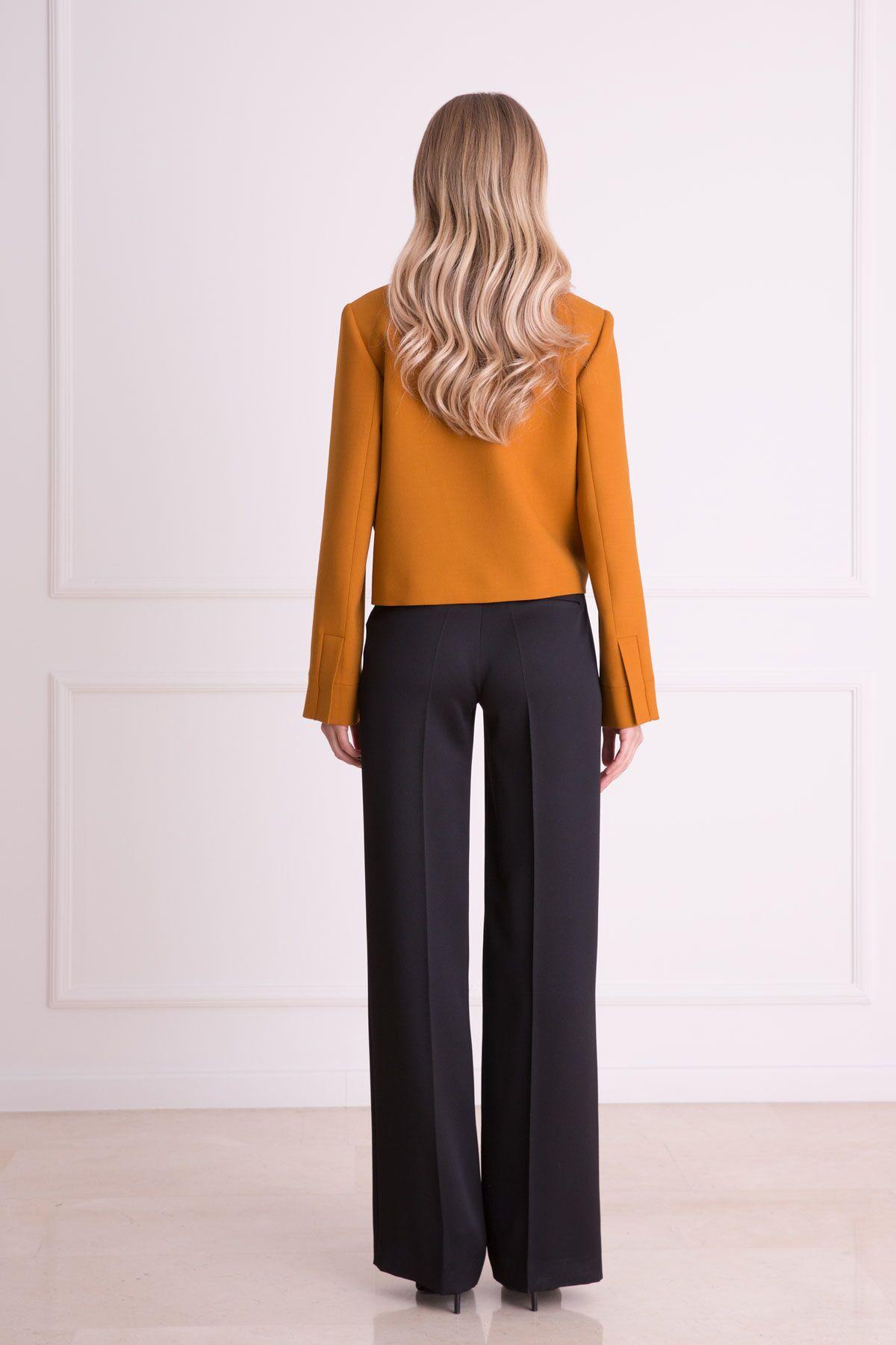 Hardal Rengi Taş İşlemeli Kısa Ceket