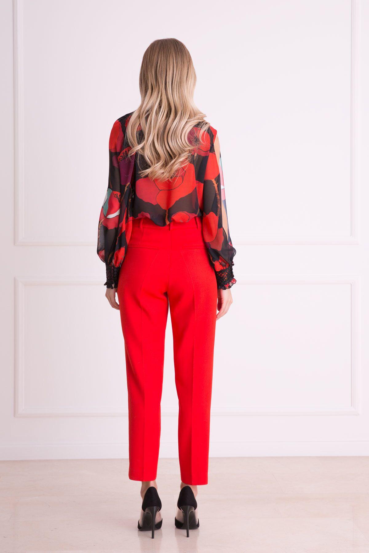 Havuç Kesim Kırmızı Kumaş Pantolon