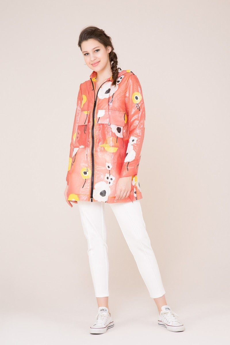 Hooded Raincoat with Flower Pattern