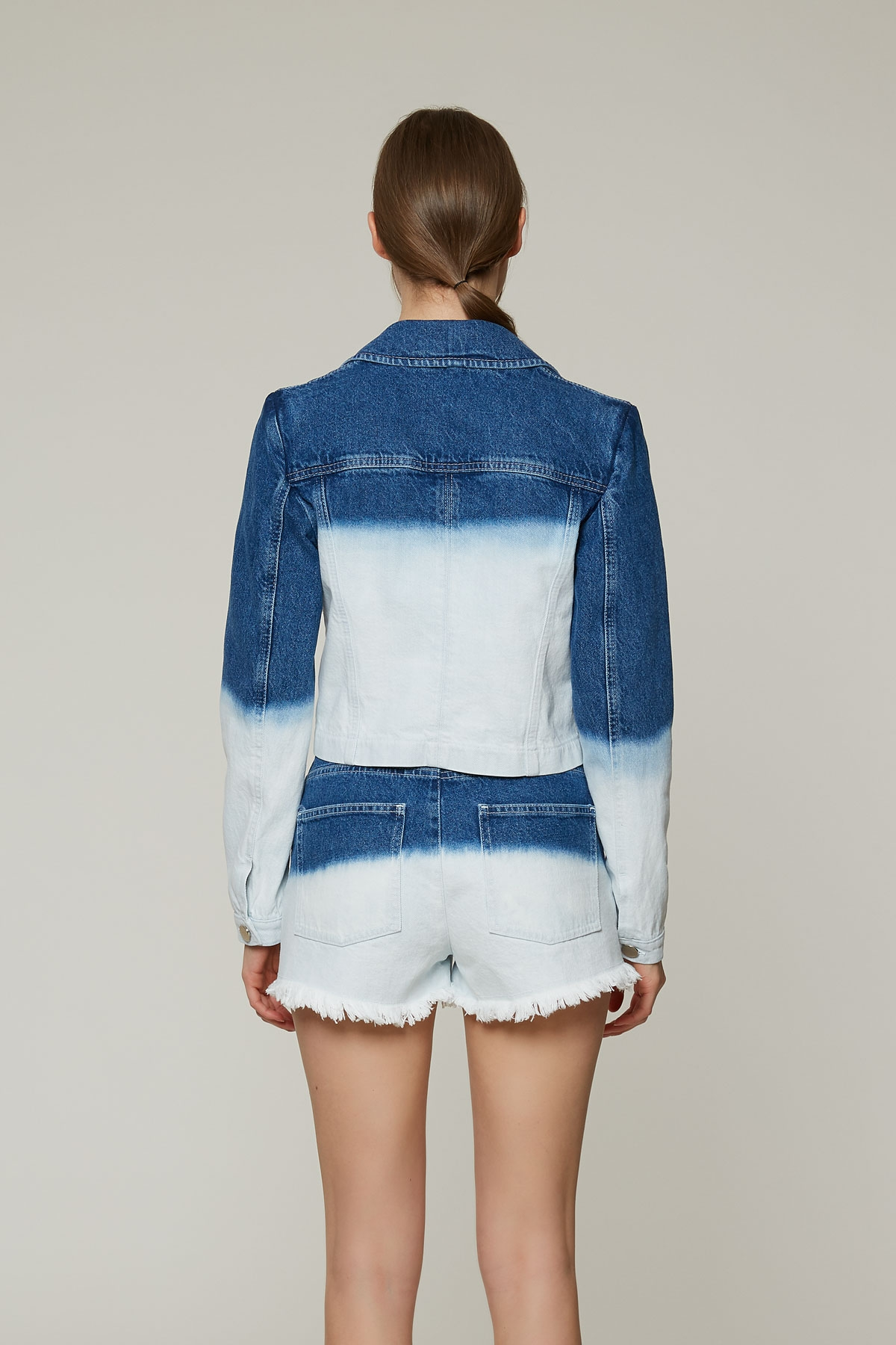 İki Renkli, Taş İşlemeli Jean Ceket