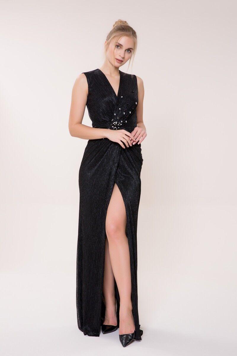 GIZIA - İnci Detaylı Siyah Uzun Elbise