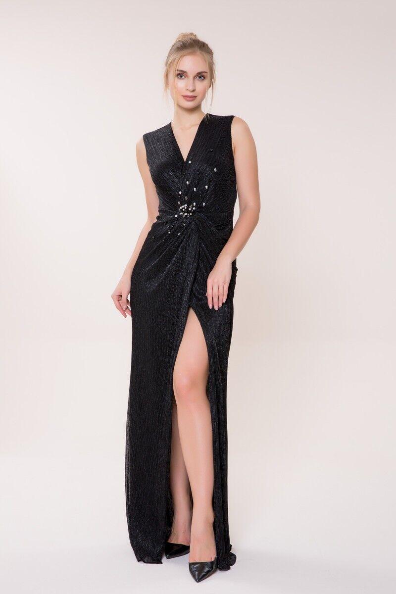 İnci Detaylı Siyah Uzun Elbise