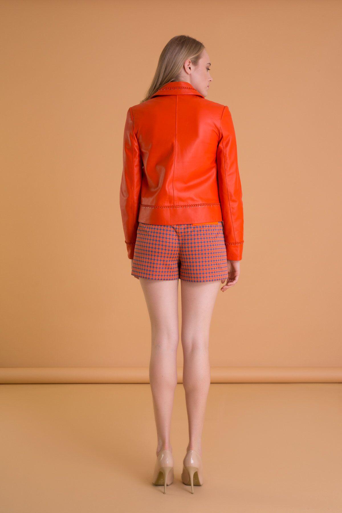 İşleme Detaylı Mercan Rengi Deri Biker Ceket