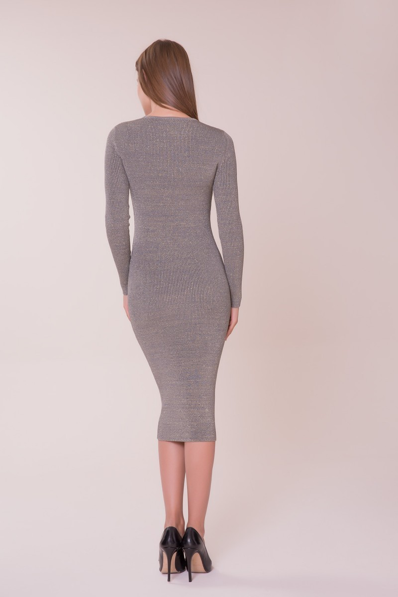 İşleme Detaylı Triko Elbise
