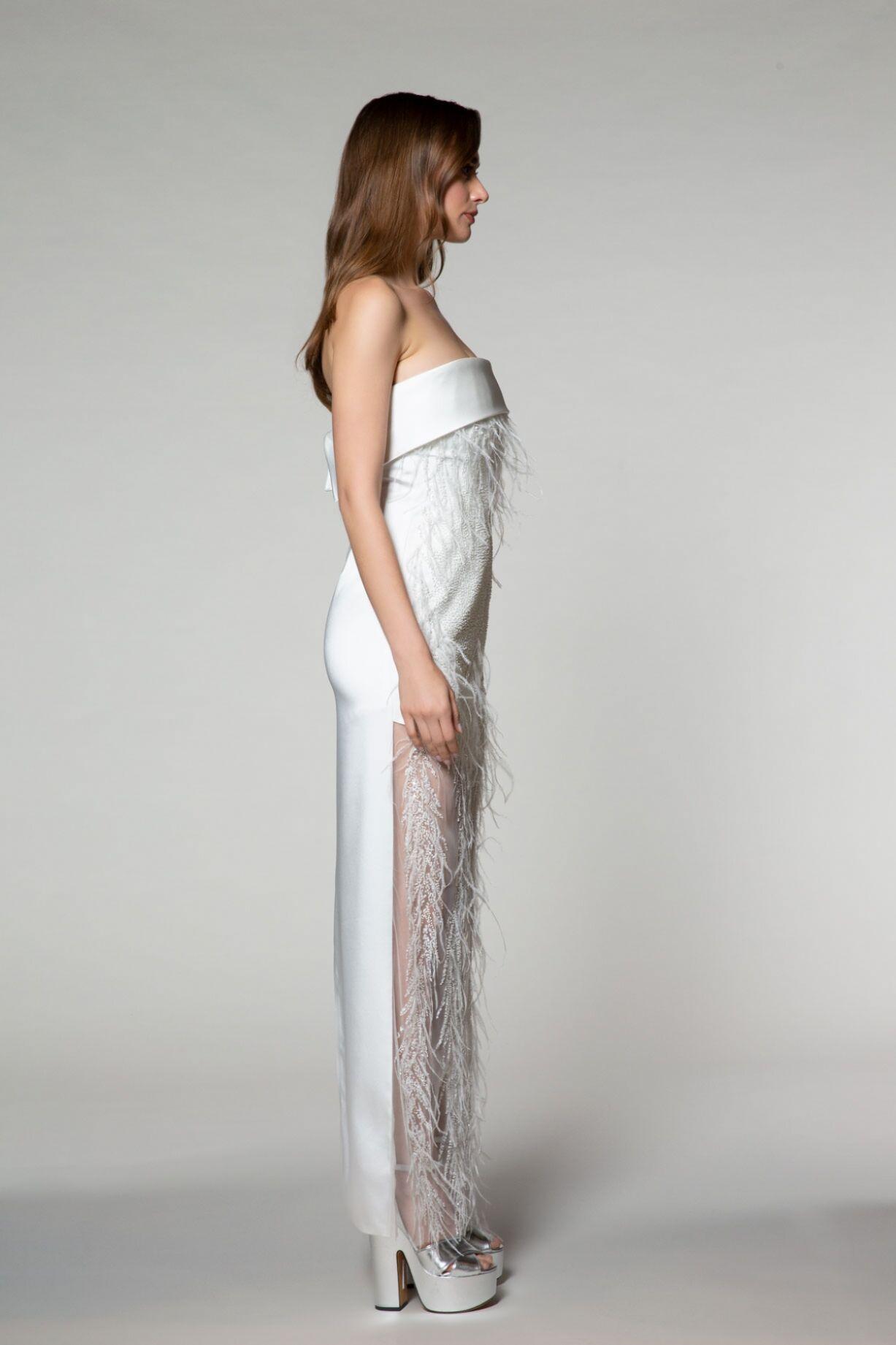 İşleme Tül Detaylı Straplez Elbise