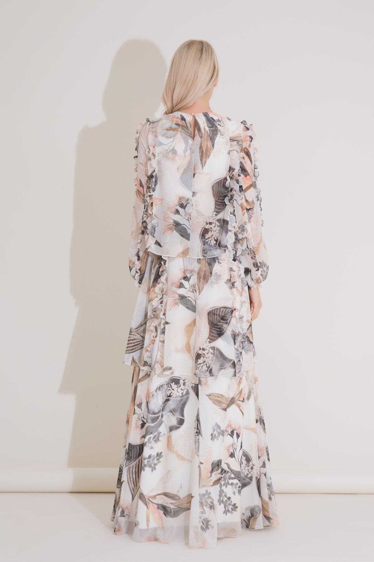 İşleme Ve Fırfır Detaylı, Desenli Uzun Şifon Elbise