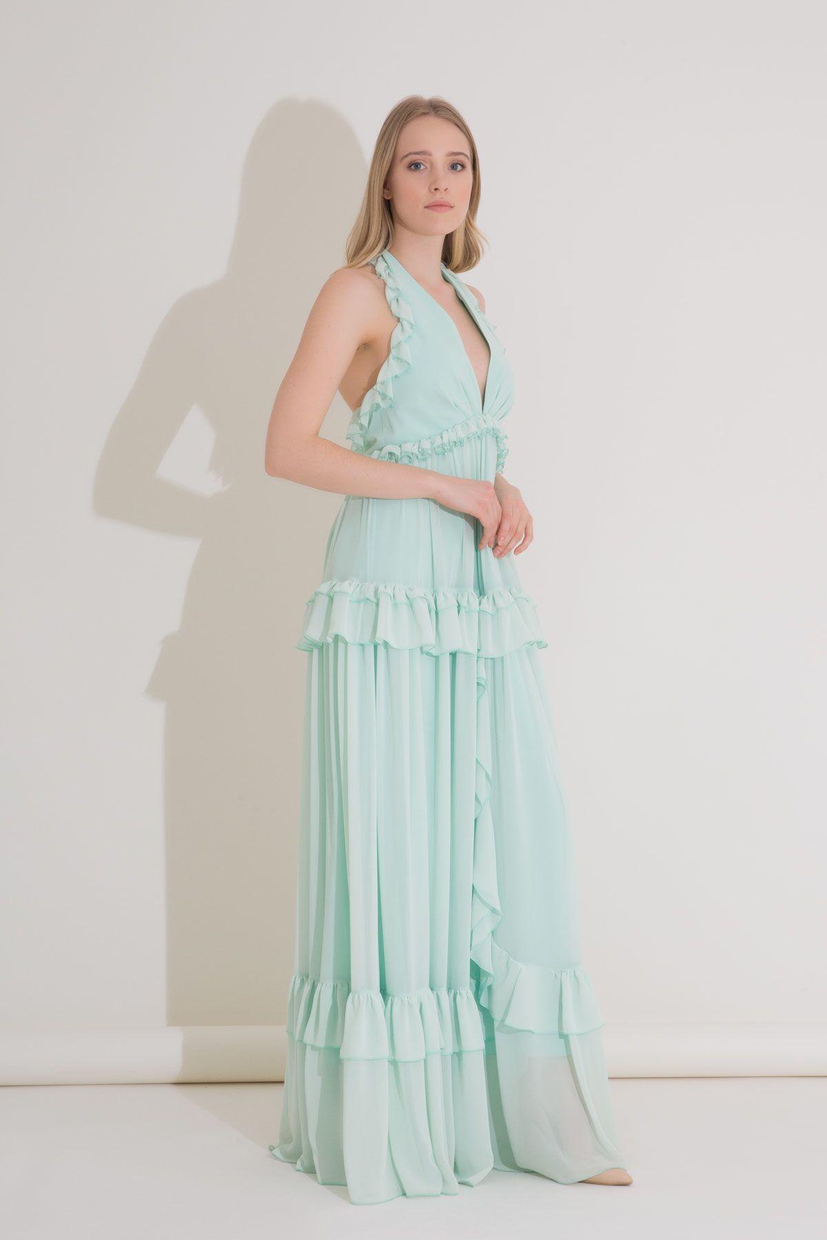 İşlemeli Fırfırlı Şifon Uzun Elbise