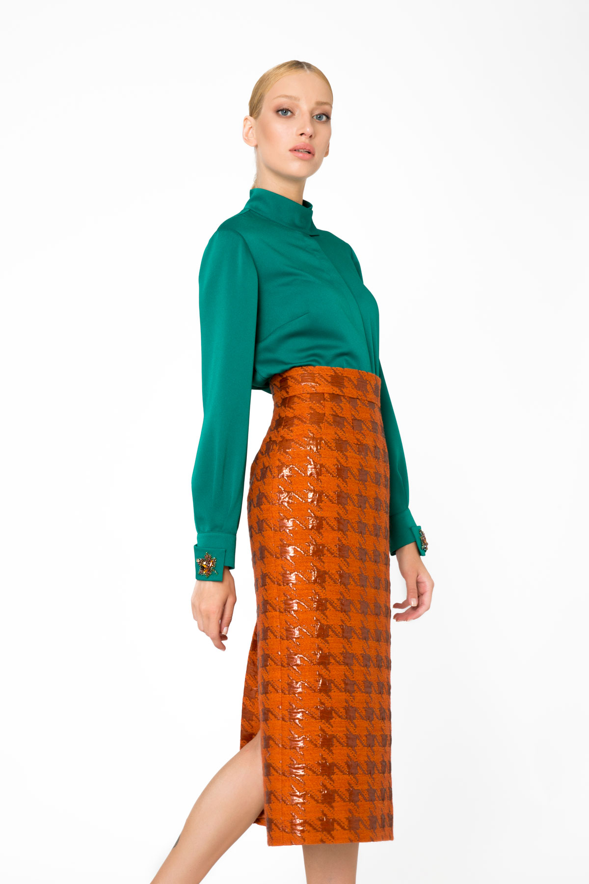 Jacquard Knit Midi High Waist Orange Skirt