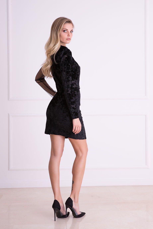 Kabartma Desenli Tek Omuz Tül Siyah Mini Elbise