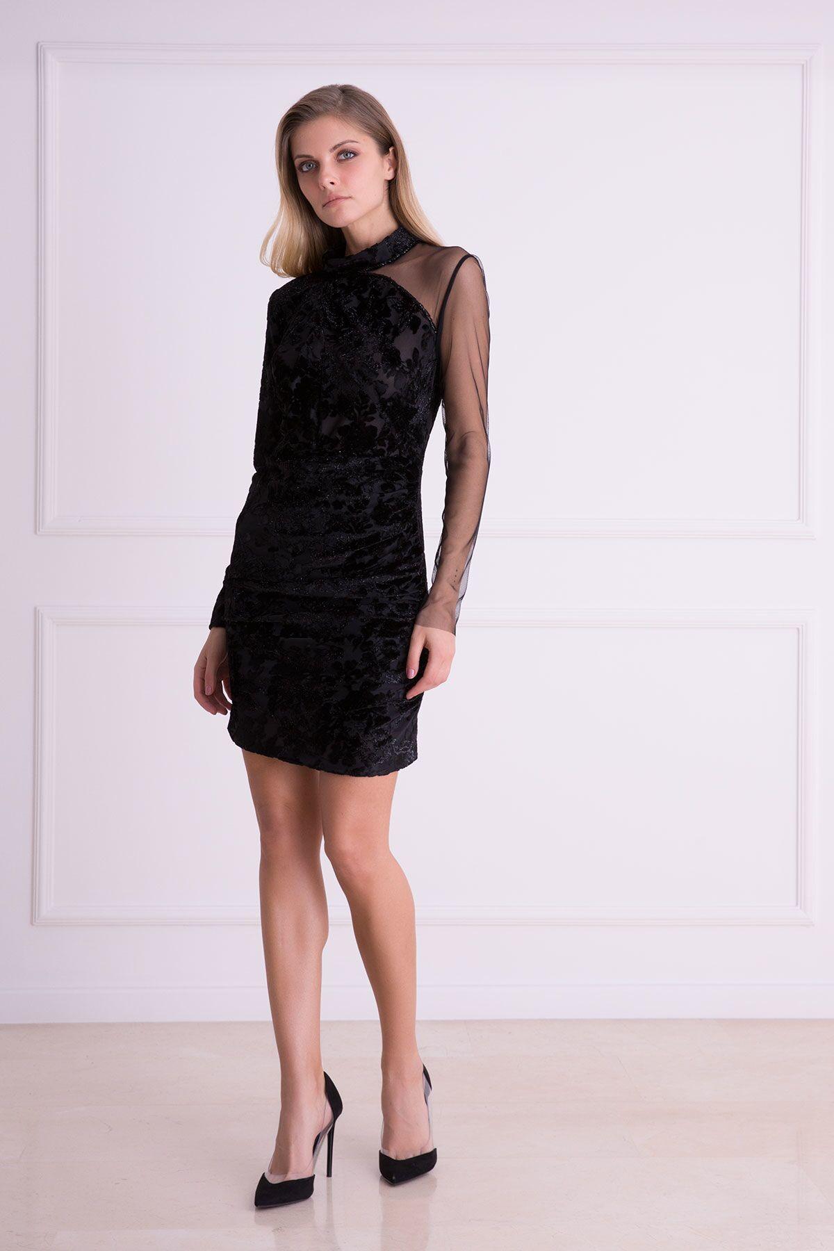 GIZIA - Kabartma Desenli Tek Omuz Tül Siyah Mini Elbise