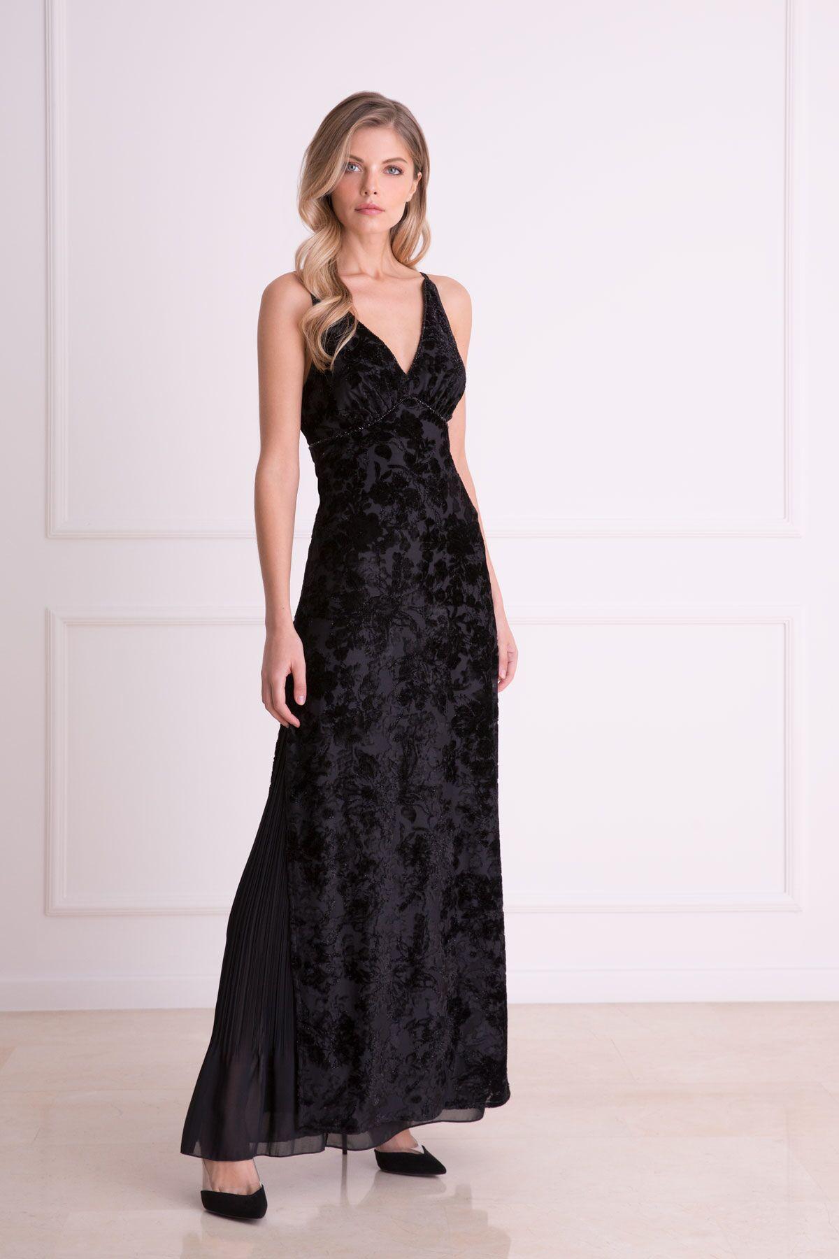 GIZIA - Kabartma Desenli Tül Detaylı Siyah Uzun Elbise