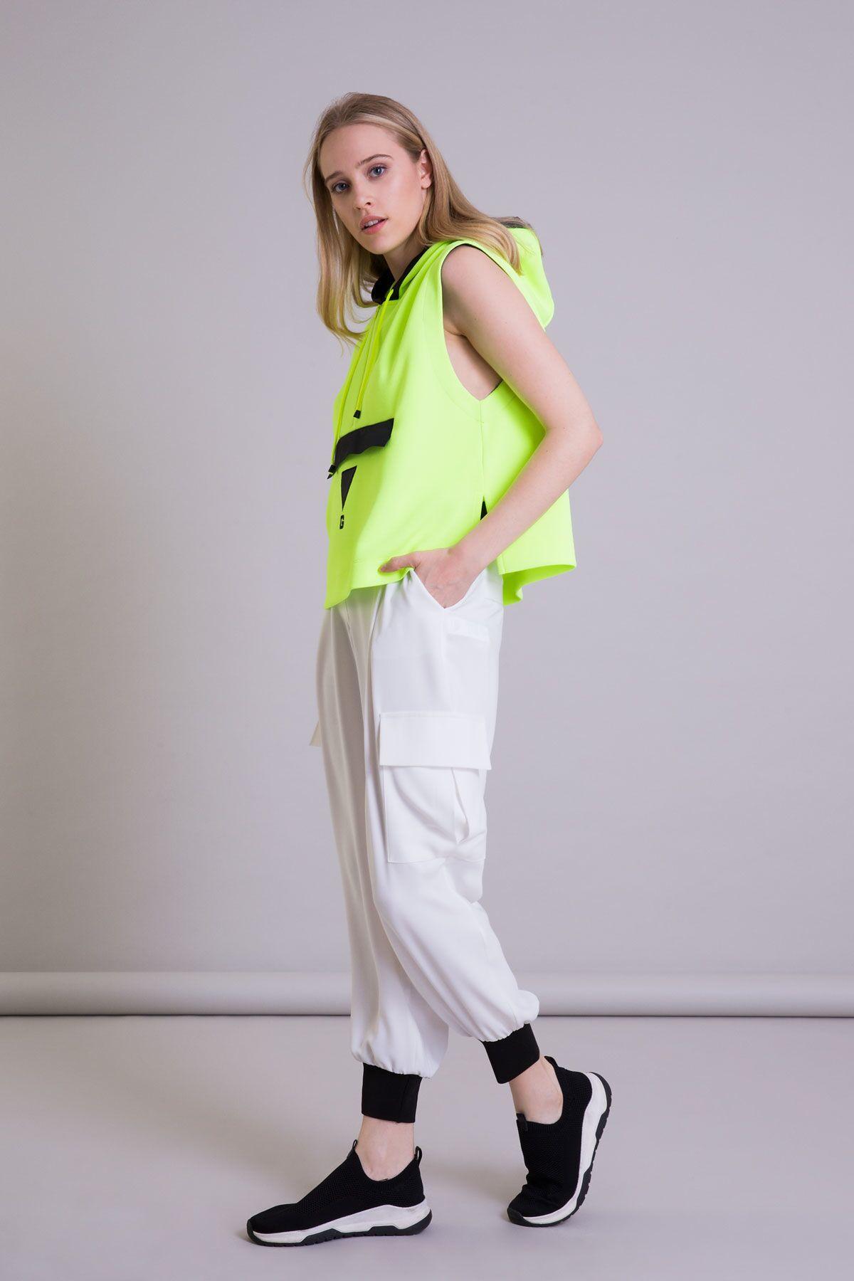 Kapüşonlu Kolsuz Neon Sarı Kısa Sweatshirt