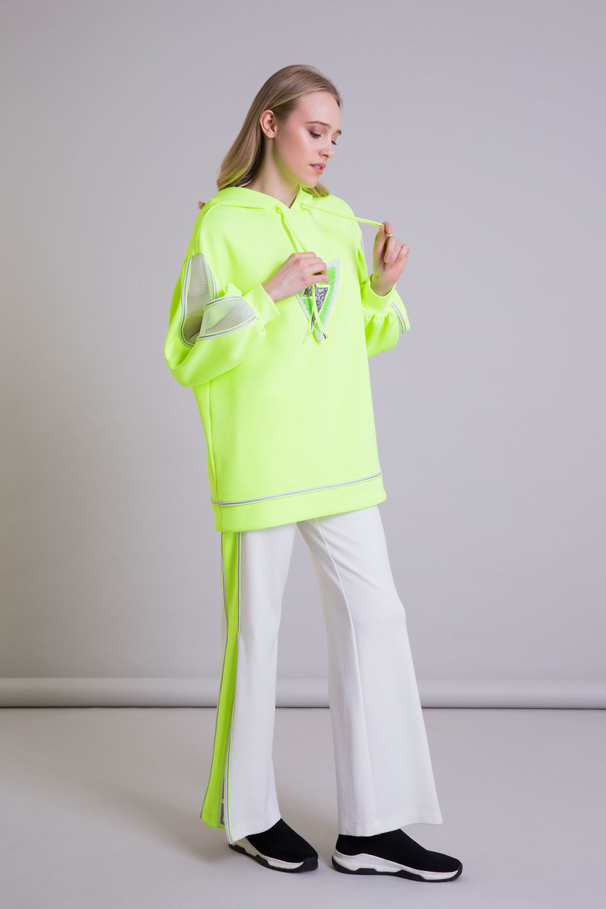 Kapüşonlu Oversize Neon Sarı Scuba Sweatshirt