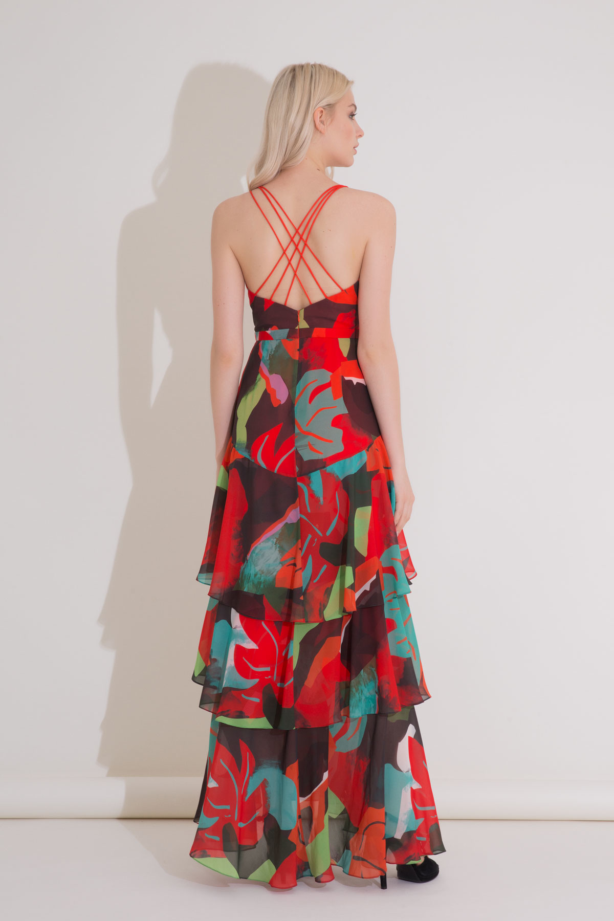 Karışık Renkli Anvelop Dekolteli Uzun Şifon Elbise