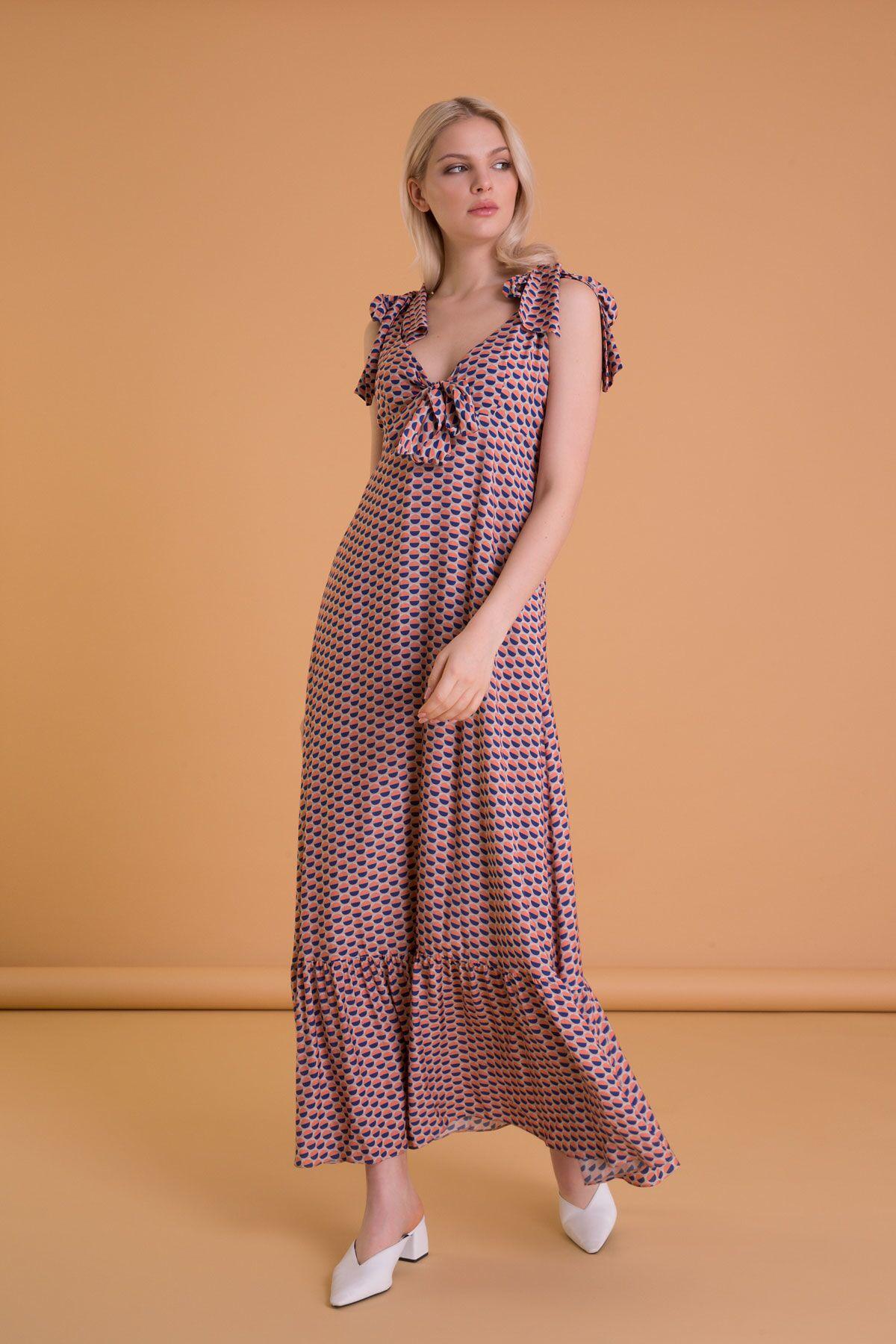 Karışık Renkli Bağlamalı Uzun Elbise