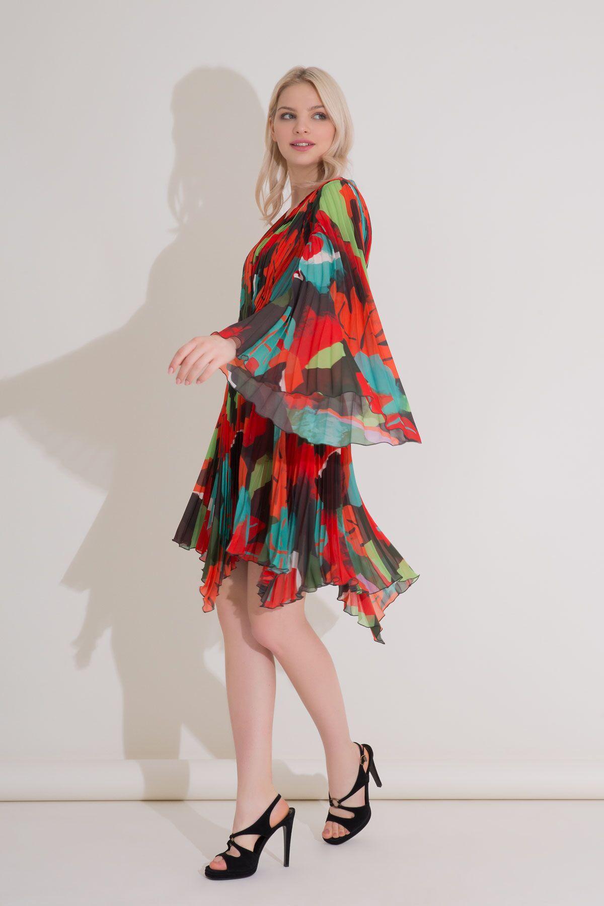 Karışık Renkli V Yaka Piliseli Mini Şifon Elbise