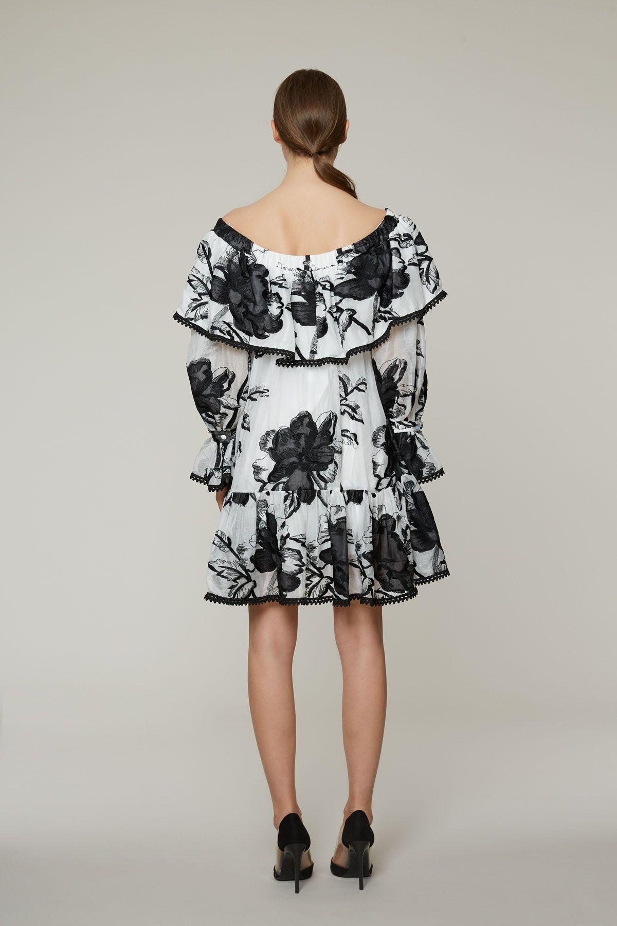 Kayık Yaka Mini, İşleme Detaylı Elbise