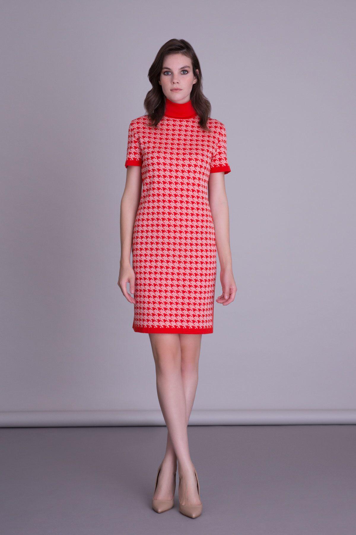 Kaz Ayağı Desenli Triko Mini Kırmızı Elbise