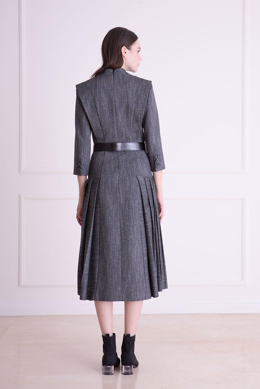 Kemer Detaylı Antrasit Midi Elbise