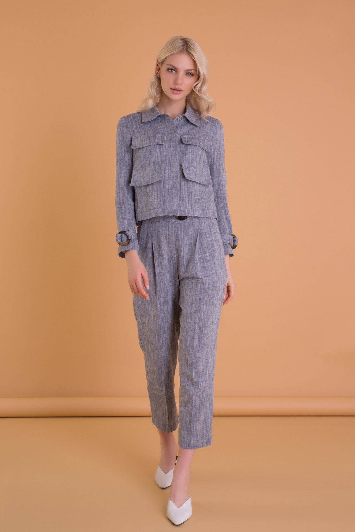 Kemer Detaylı Lacivert Crop Kumaş Pantolon