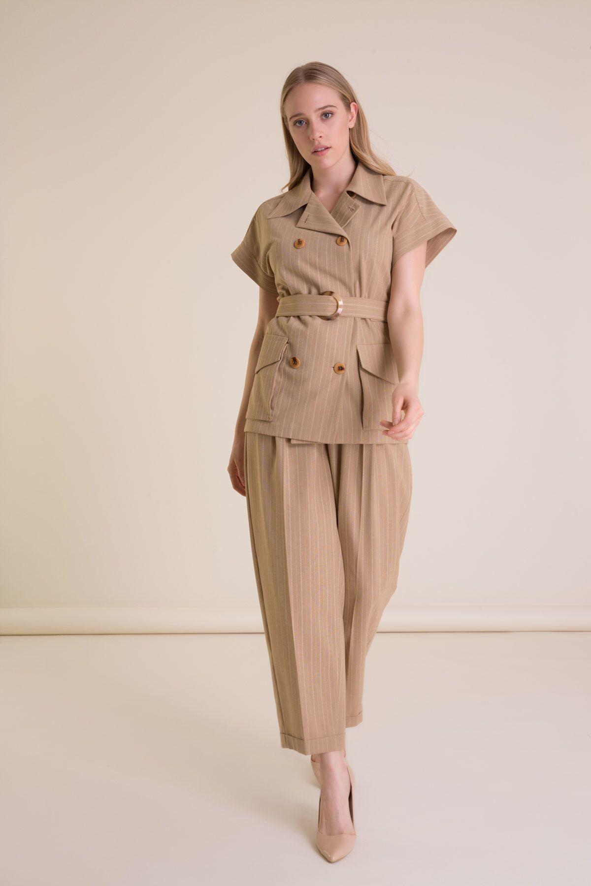Kemer Detaylı Safari Bej Yelek Ceket