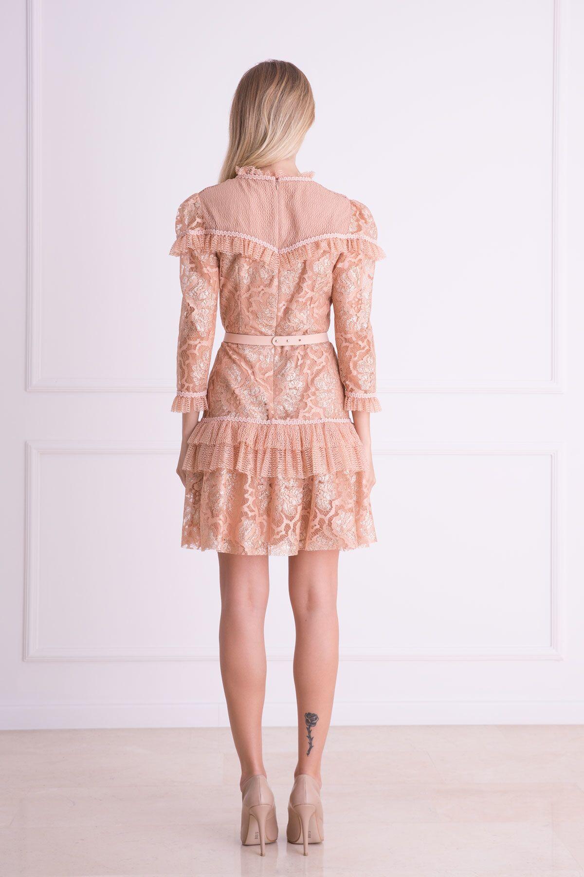 Kemer Detaylı Somon Rengi Dantel Mini Elbise