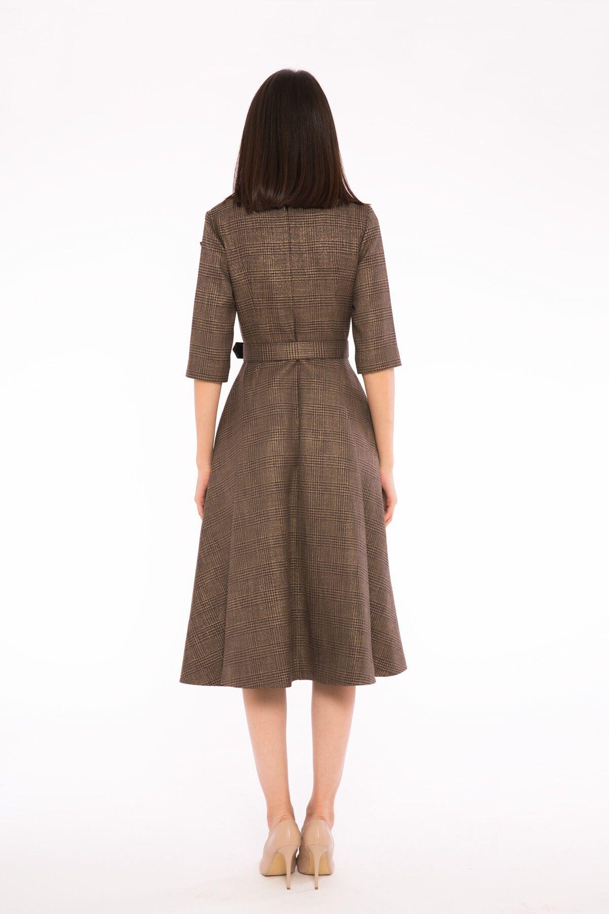 Kemer Detaylı Metalik Ekose Kumaş Flare Etek Midi Elbise