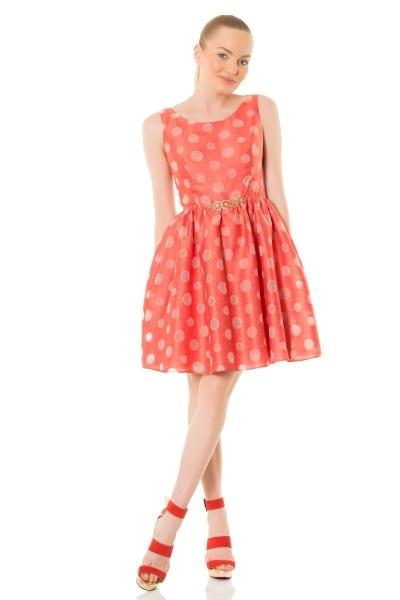 GIZIA CASUAL - Kemerli Şeffaf Puantiyeli Coral Elbise