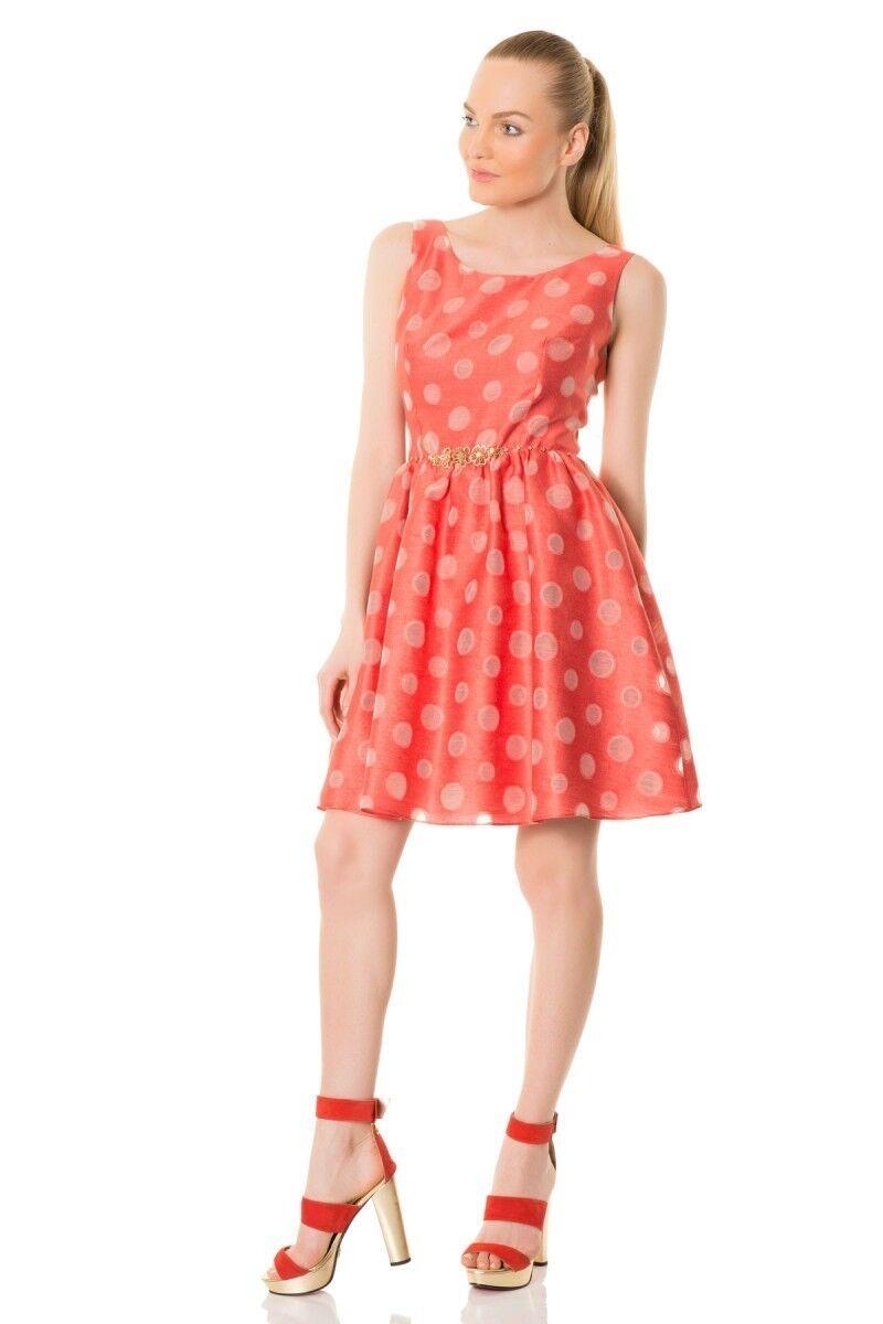 Kemerli Şeffaf Puantiyeli Coral Elbise
