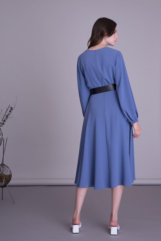 Kemerli Uzun Kollu Mavi Midi Elbise