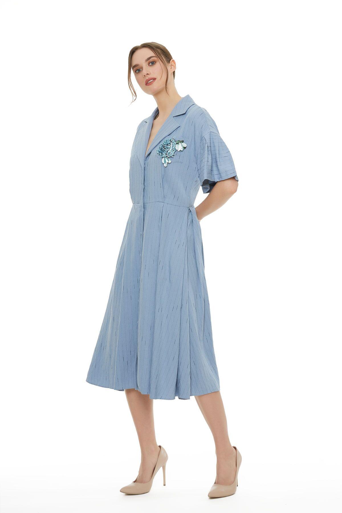 Kısa Kol Mavi Midi Boy Elbise
