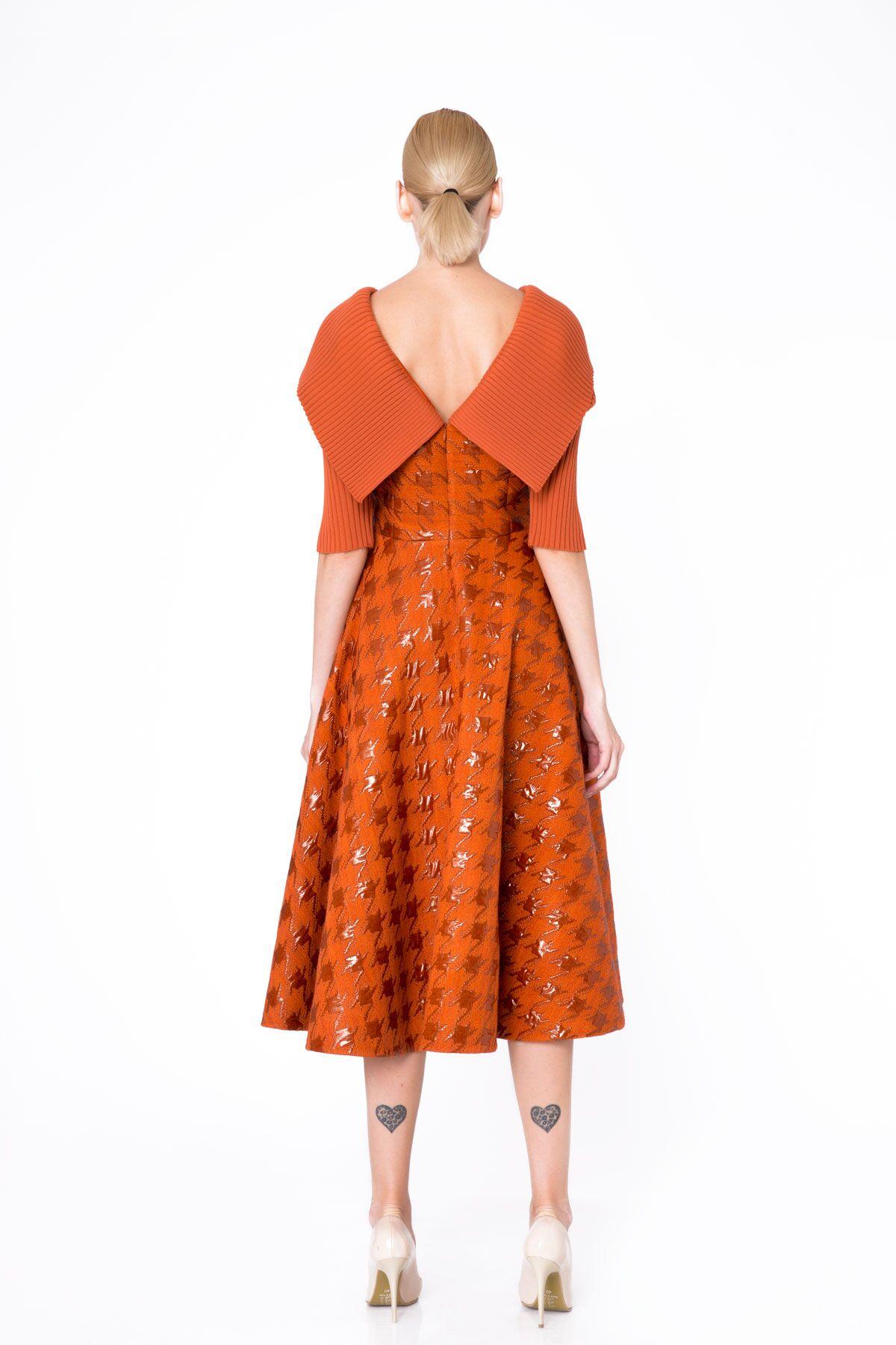 Knitwear Detailed Jacquard Fabric Orange Flared Dress