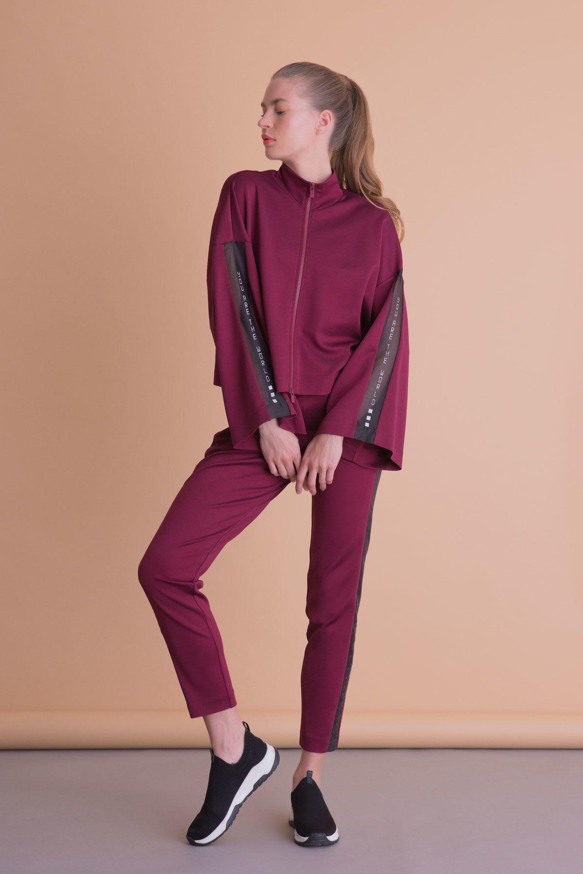 Kol Baskı Detaylı Bordo Fermuarlı Sweatshirt