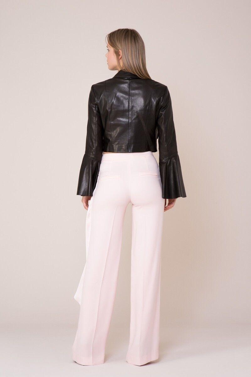 Kol Detaylı Siyah Deri Ceket