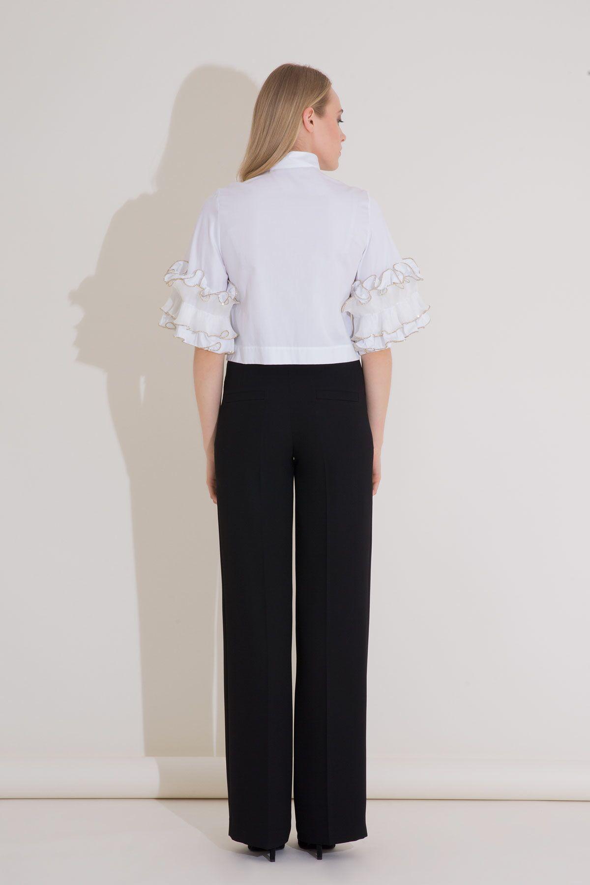 Kol Fırfır Detaylı Beyaz Dik Yaka Poplin Gömlek