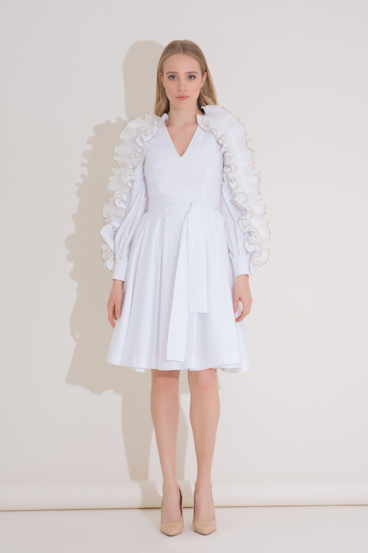 Kol Fırfır Detaylı Kuşaklı Beyaz Poplin Elbise