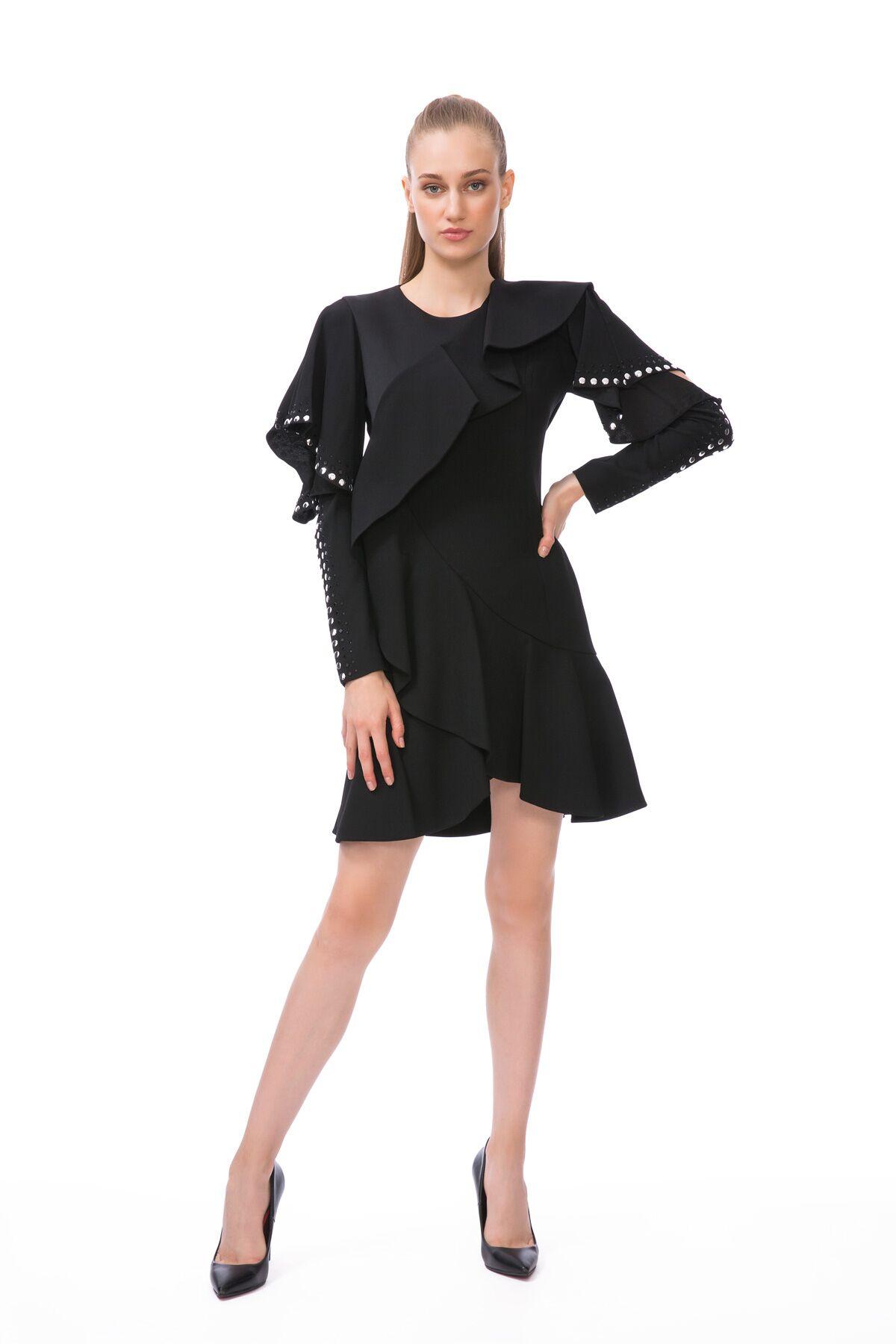 Kol Kısmı Trok Baskı Detaylı Siyah Mini Elbise