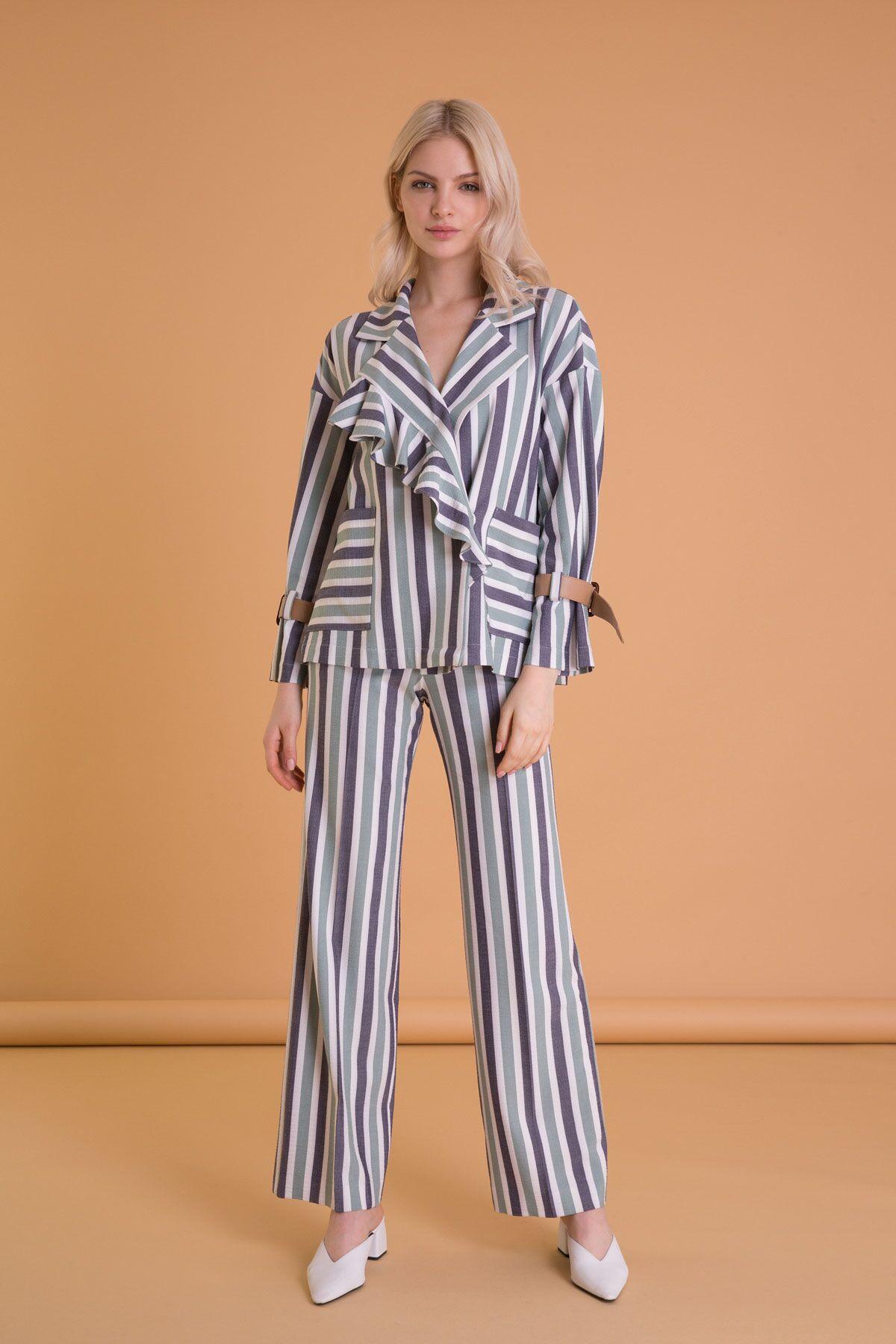 Kontrast Renkli Bol Kesim Çizgili Pantolon