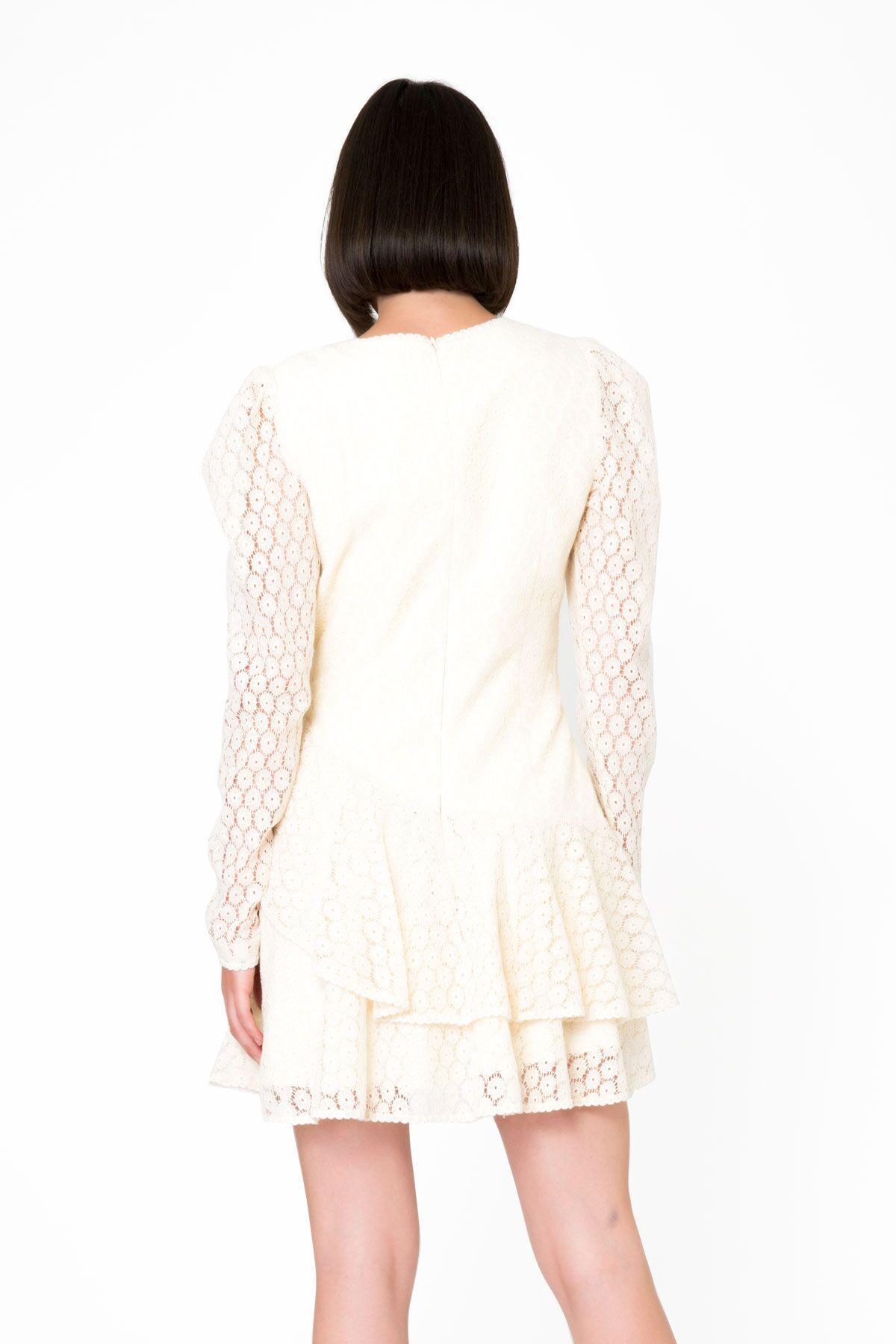 Kruvaze Kapama, Uzun Pilili Kollu, Volanlı Mini Dantel Elbise