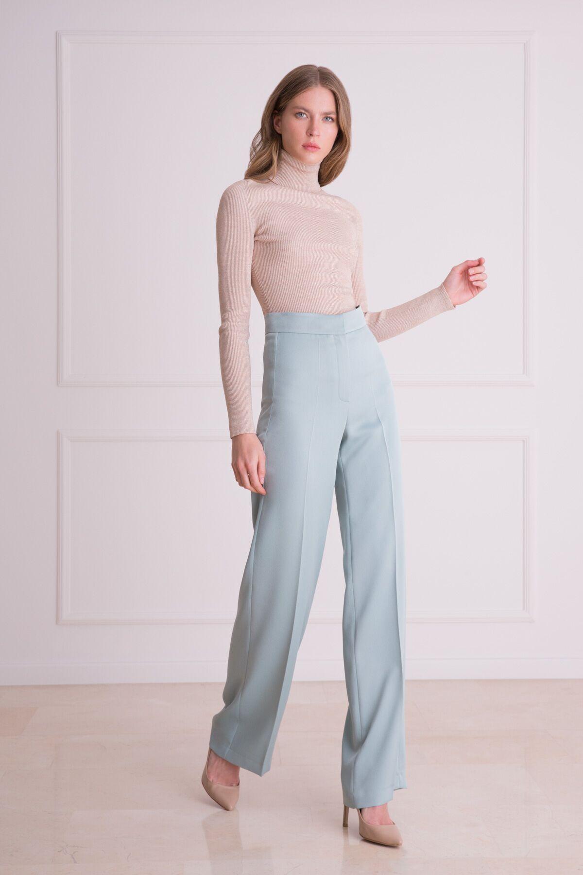 Küf Yeşili Yüksek Bel Kumaş Pantolon