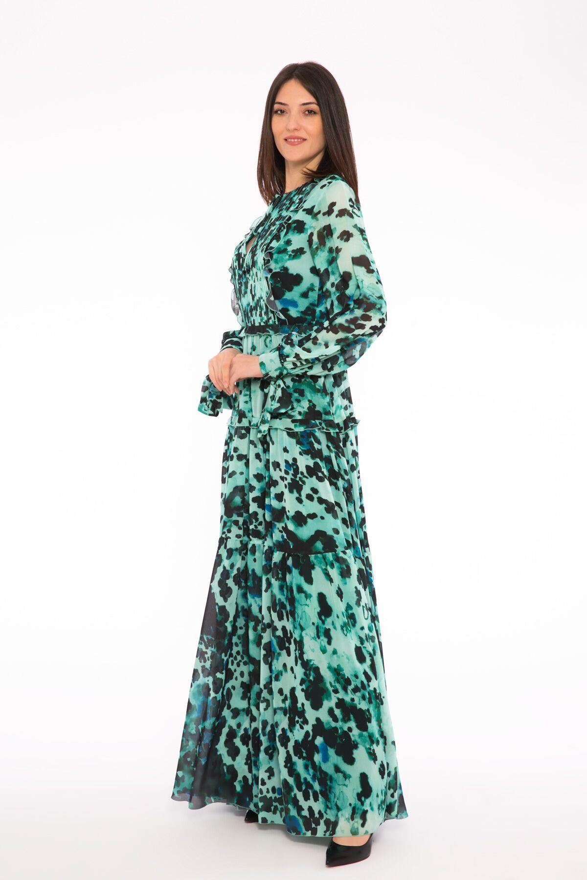 Kup Detaylı Volanlı Yakası Nervürlü Şifon Mini Elbise