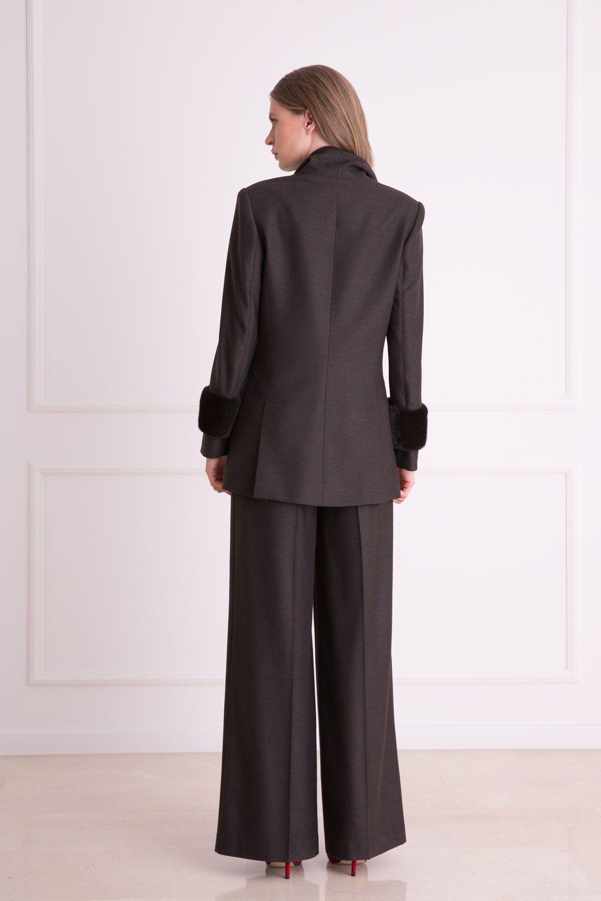 Kürk Detaylı Kahverengi Kumaş Ceket