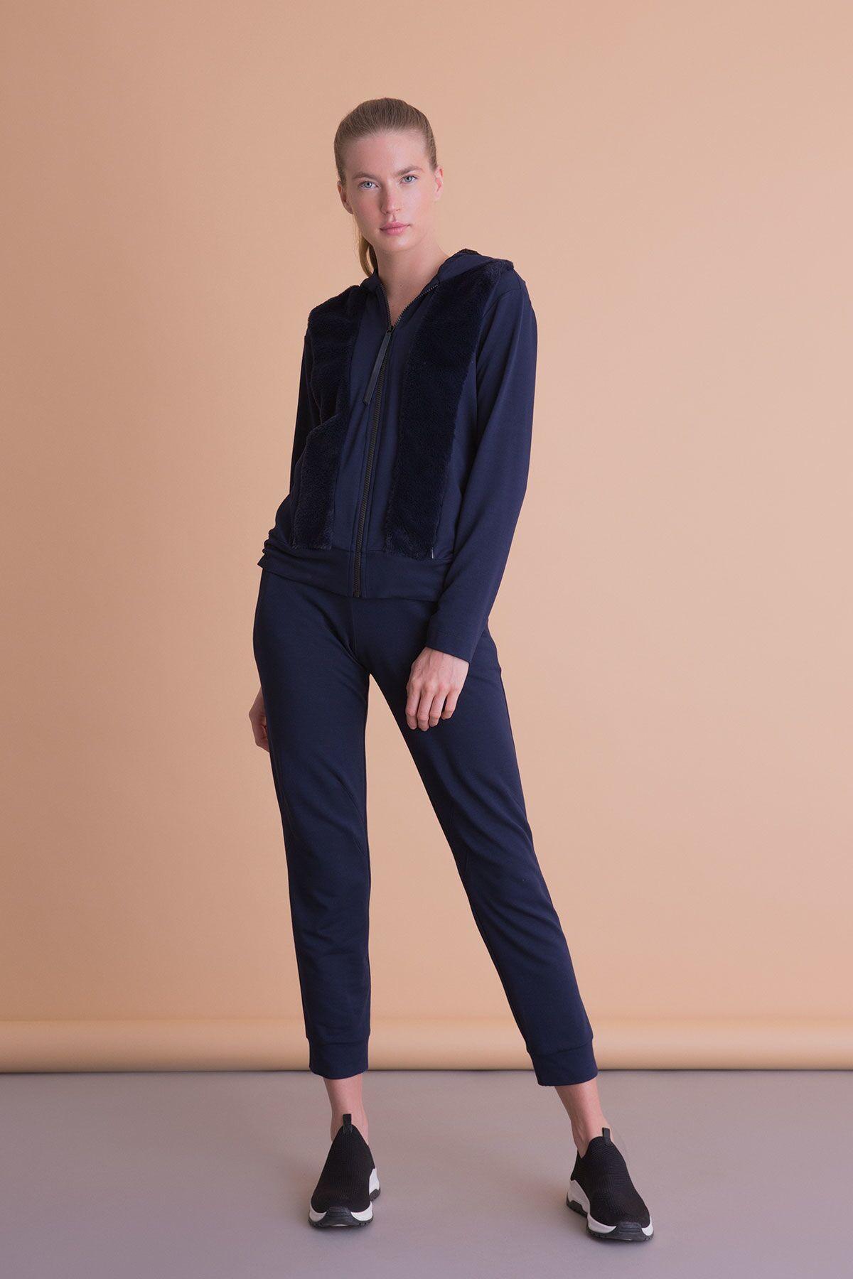 Kürk Detaylı Lacivert Kapüşonlu Sweatshirt