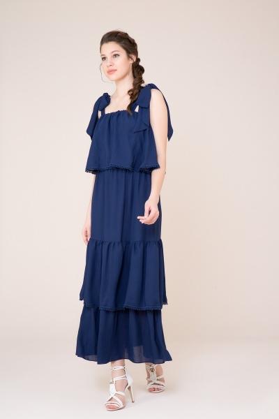 GIZIA CASUAL - Kuşak Detaylı Lacivert Uzun Elbise